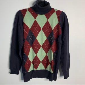 Wool argyle turtleneck sweater